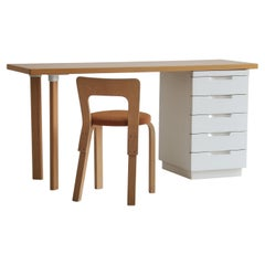 Alvar Aalto Desk and Chair Model 65, made by Artek, Finland in the 1960s
