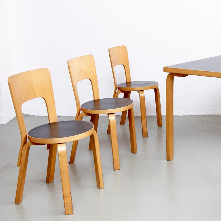 Alvar Aalto Dining Table and Four Chairs For Sale at 1stdibs