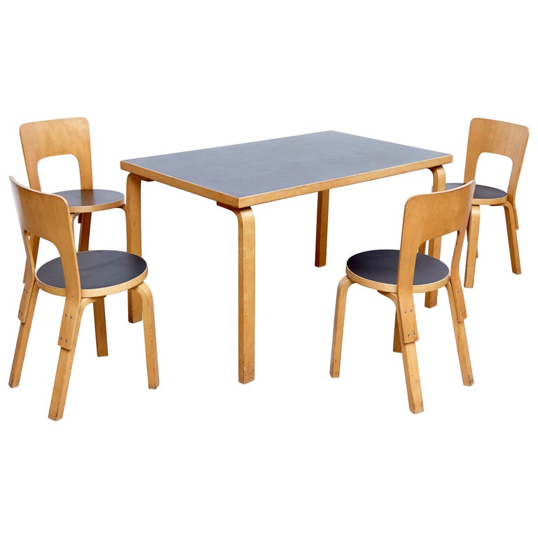 Dining Table Chairs Sale: Alvar Aalto Dining Table And Four Chairs For Sale At 1stdibs