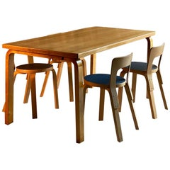 Alvar Aalto Dining Table and Four Model 65 Dining Chairs by Artek, Finland 1950s