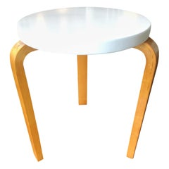 Alvar Aalto Early Finsven Stamped Stool / Small Table Lacquer Top