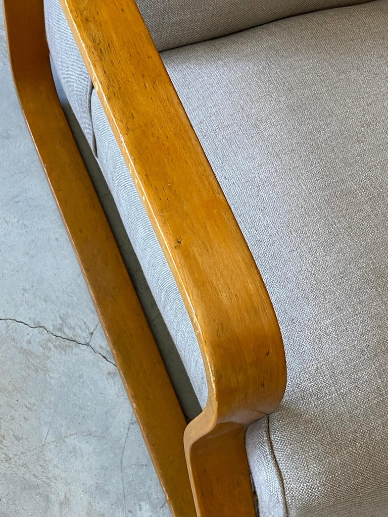 Mid-20th Century Alvar Aalto, Early Model 44 Lounge Chair, Birch, Fabric, Finmar Ltd, 1930s For Sale