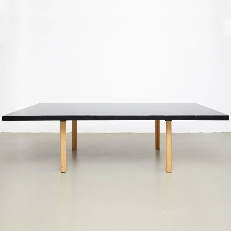 Dining table designed by Alvar Aalto, circa 1960 Special commission, unique piece of measure: 246 x 140 x73 cm  Wood legs and structure.  In great original condition, with minor wear consistent with age and use, preserving a beautiful patina