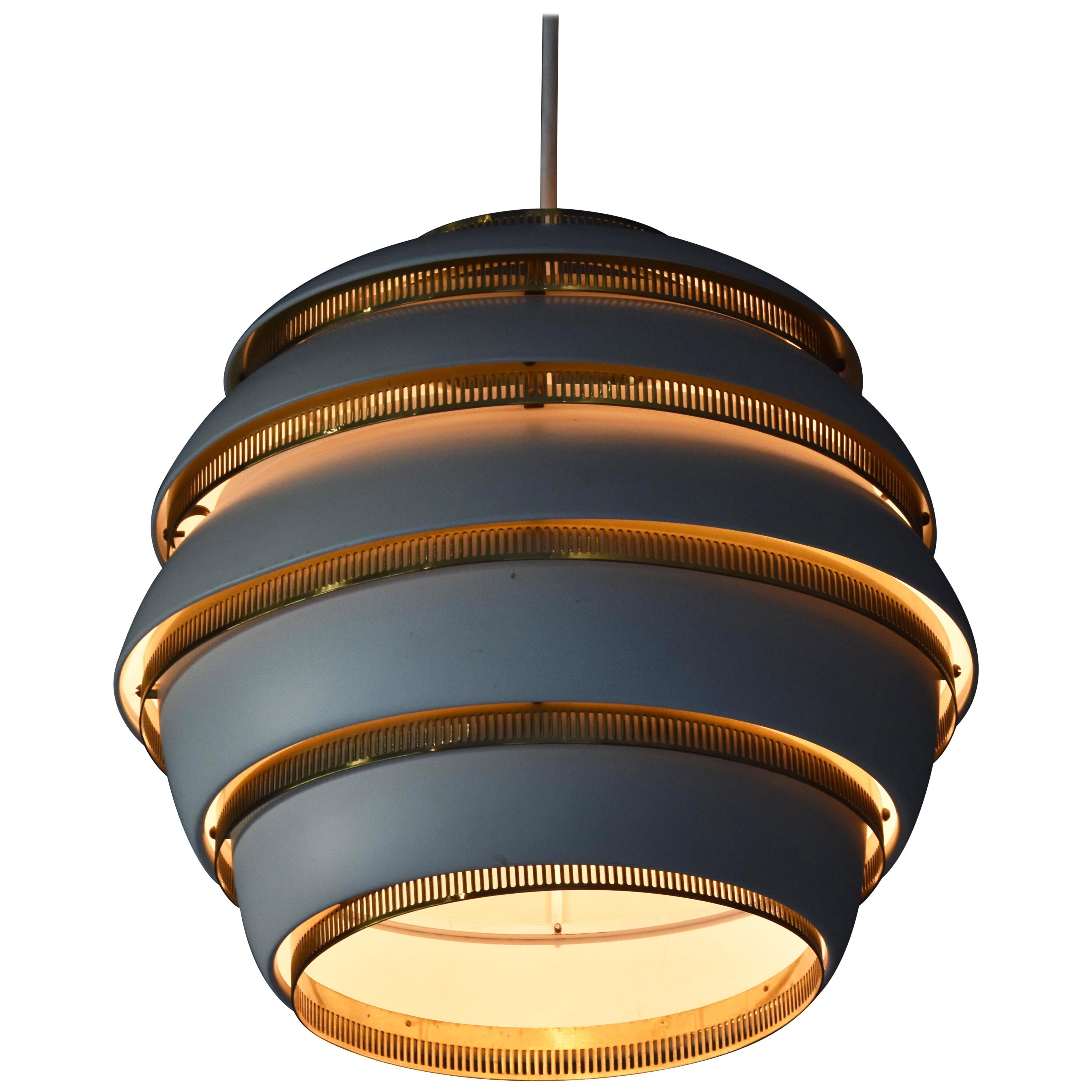 """Alvar Aalto, First Production """"Beehive"""" Ceiling Lamp, Painted Aluminum, Brass"""