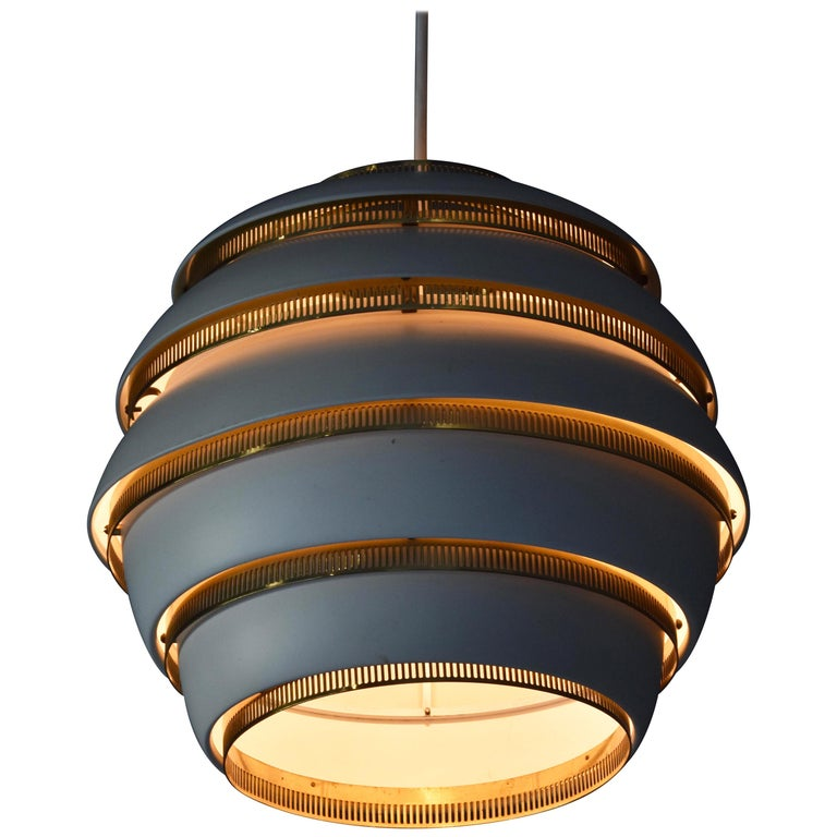 """Alvar Aalto, First Production """"Beehive"""" Ceiling Lamp, Painted Aluminum, Brass For Sale"""