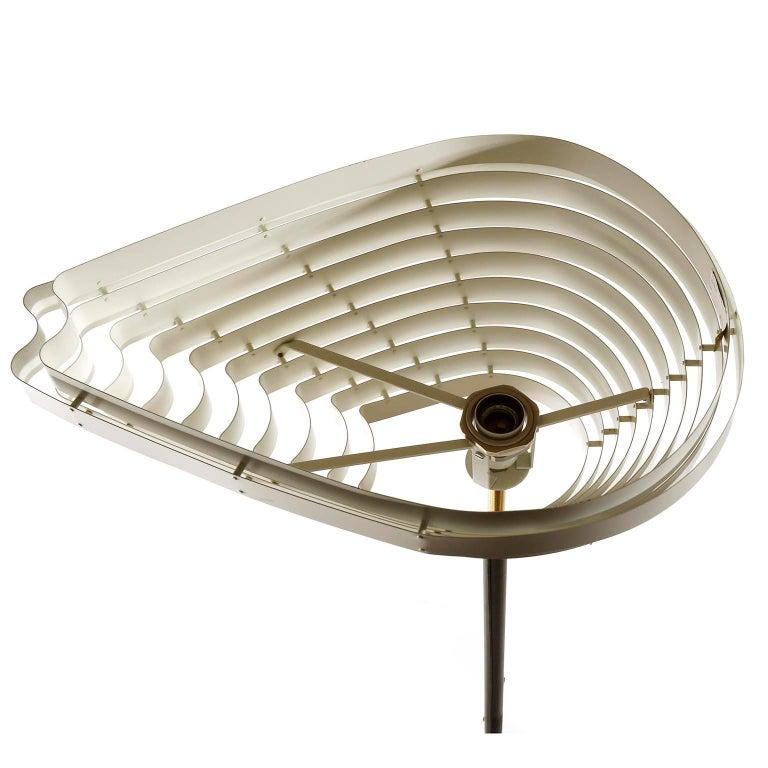Enameled Alvar Aalto Floor Lamp Angel Wing A805, Black Leather Brass White Metal, 1954 For Sale