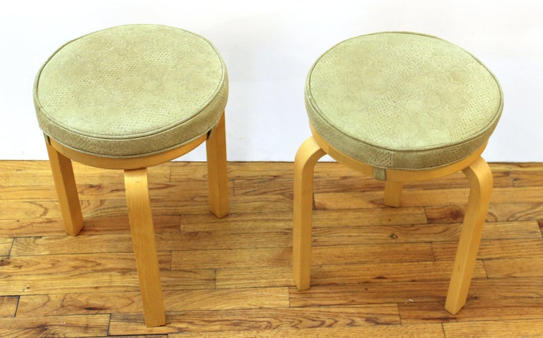 Mid-Century Modern Alvar Aalto for Artek Scandinavian Modern Upholstered Stools For Sale