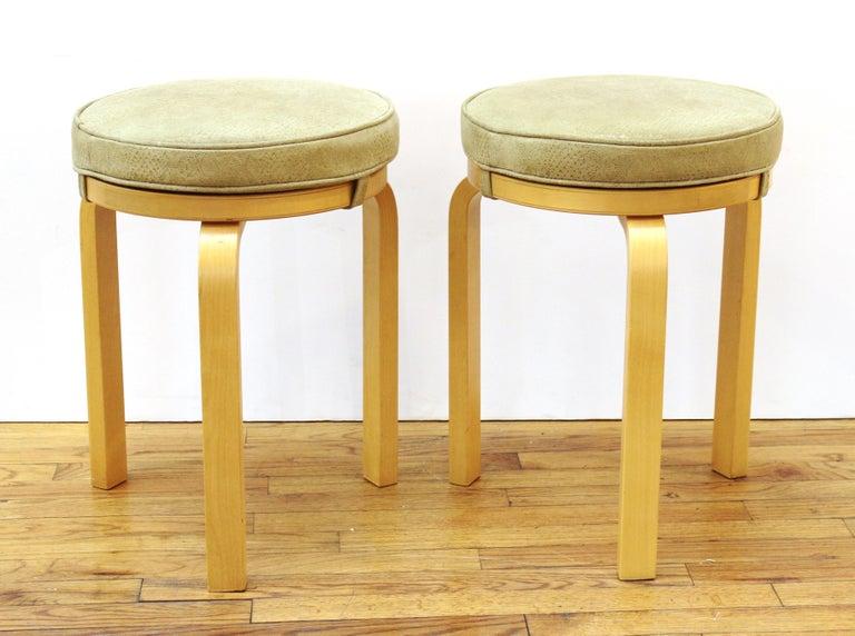 Alvar Aalto for Artek Scandinavian Modern Upholstered Stools In Good Condition For Sale In New York, NY