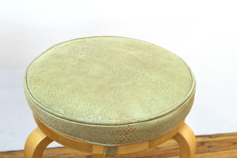 20th Century Alvar Aalto for Artek Scandinavian Modern Upholstered Stools For Sale
