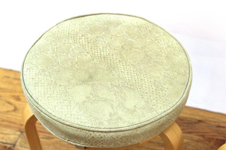 Upholstery Alvar Aalto for Artek Scandinavian Modern Upholstered Stools For Sale