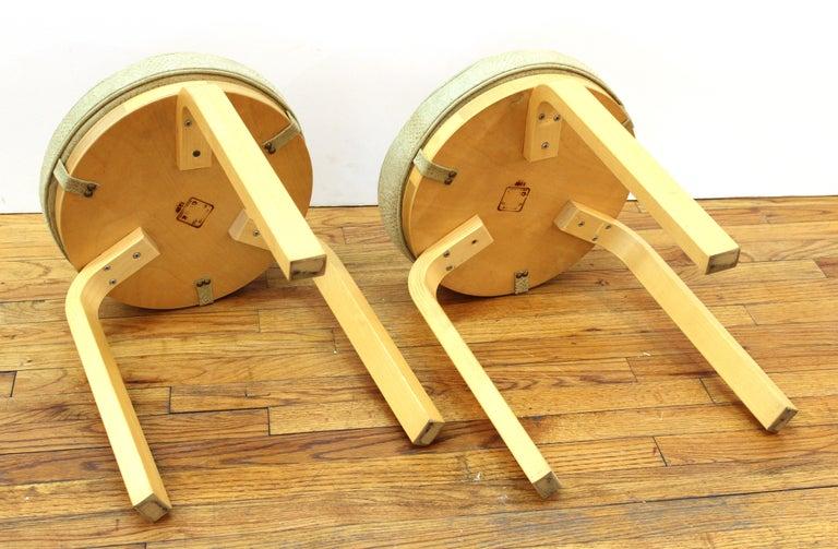 Alvar Aalto for Artek Scandinavian Modern Upholstered Stools For Sale 1