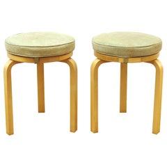 Alvar Aalto for Artek Scandinavian Modern Upholstered Stools