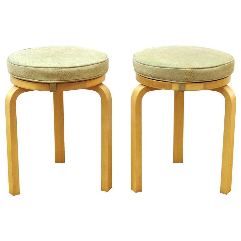 Alvar Aalto for Artek Scandinavian Modern Upholstered Stools For Sale