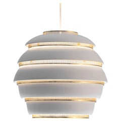 Alvar Aalto for Valaisinpaja Oy 'Beehive' Pendant Lamp in White Metal