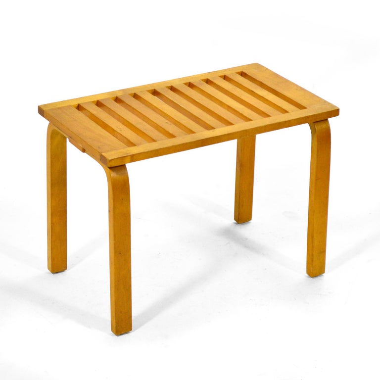 This exceptional example of Allto's slat bench/ table by Artek dates to circa 1948 and was sold at Chicago's landmark modern design store Baldwin Kingrey. It has a beautiful patina from age and retains its original label on the underside.