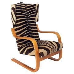Alvar Aalto Lounge Chair in Zebra Hide