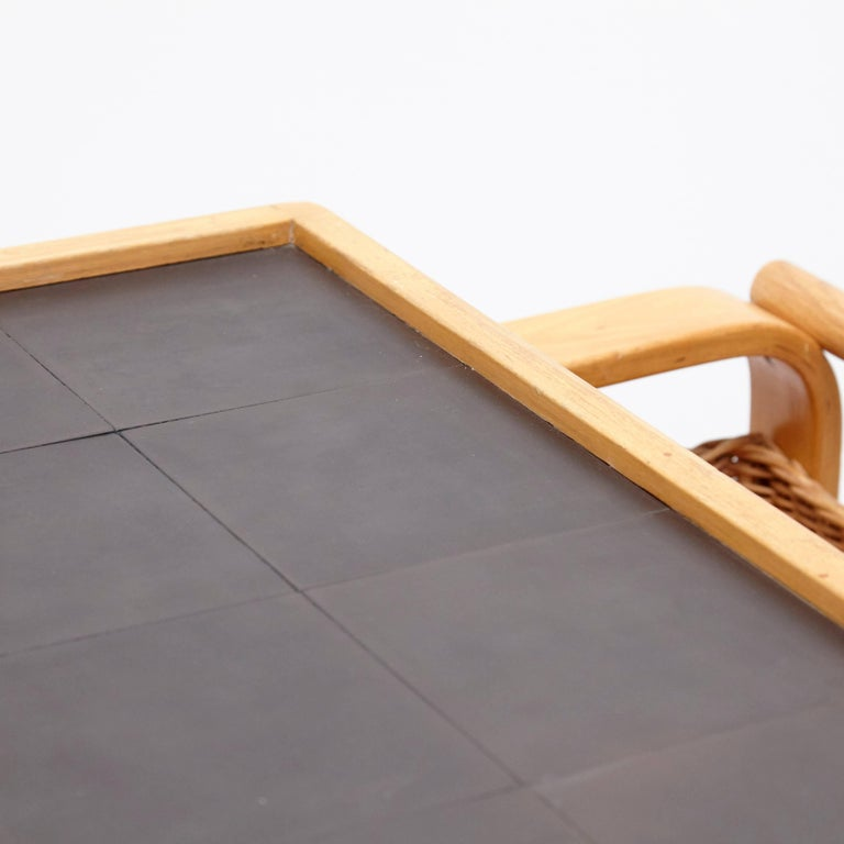 Alvar Aalto Mid-Century Modern Wood, Tiles and Rattan Tea Trolley Model 900 For Sale 3