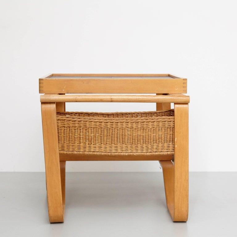 Alvar Aalto Mid-Century Modern Wood, Tiles and Rattan Tea Trolley Model 900 For Sale 5