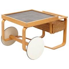 Alvar Aalto Mid-Century Modern Wood, Tiles and Rattan Tea Trolley Model 900