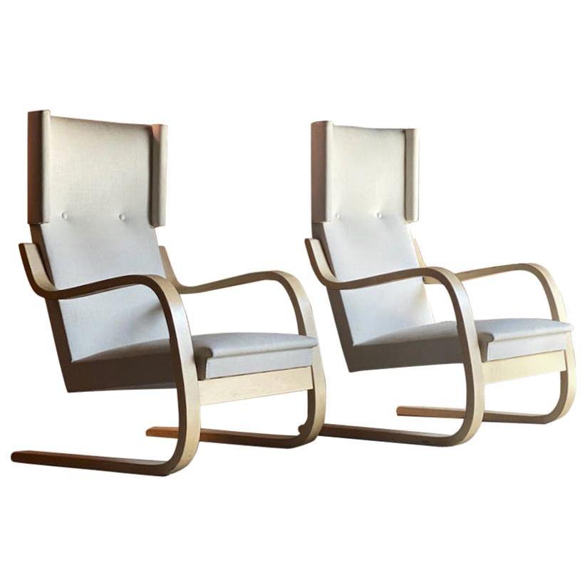 Alvar Aalto Model 401 Armchairs Matching Pair Artek Midcentury Design, Finland