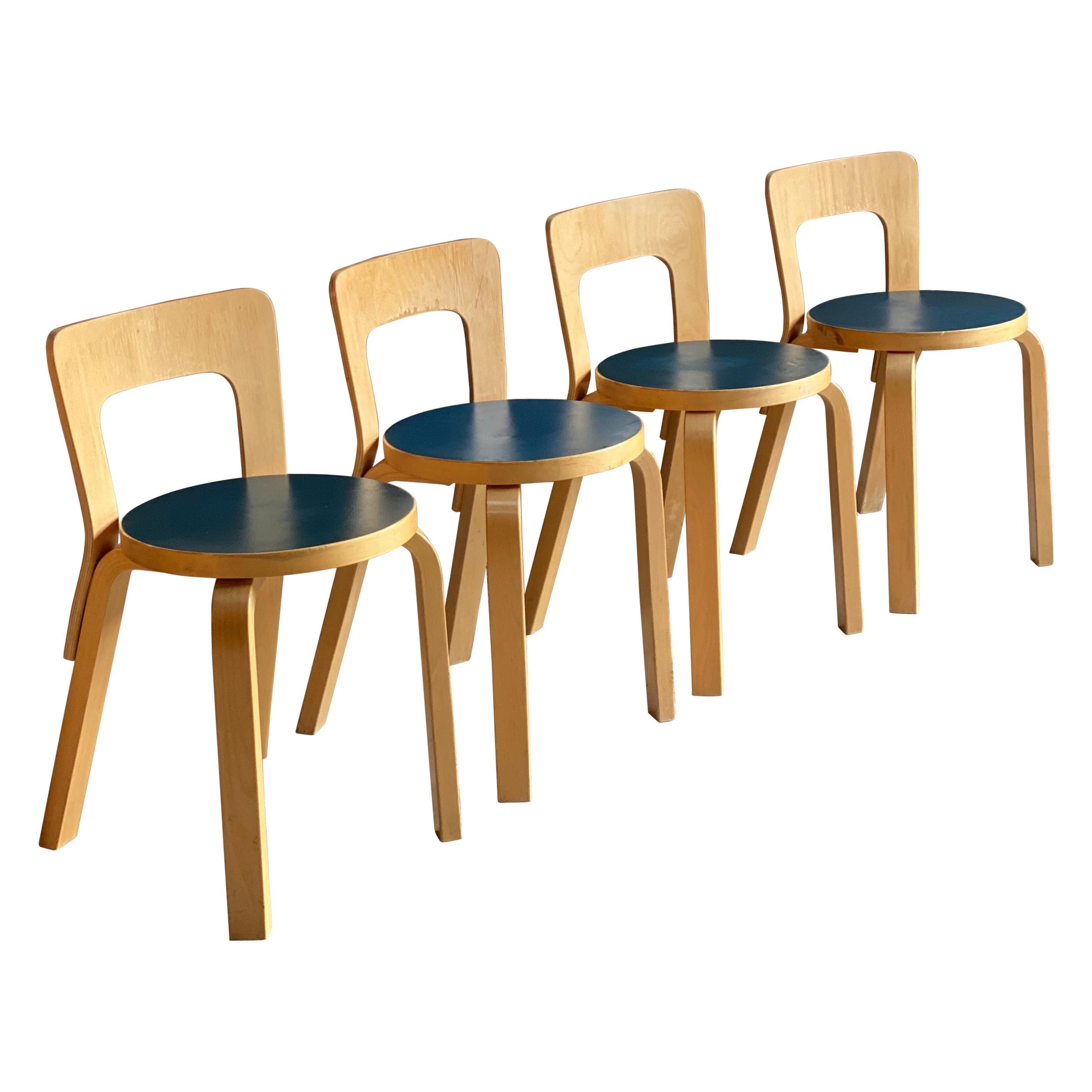 Alvar Aalto Model 65 Dining Chairs by Artek Finland, circa 1950s