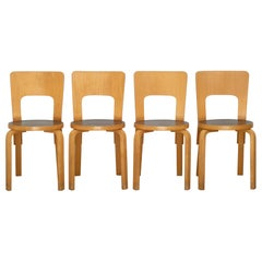 Alvar Aalto Model 66 Bentwood Birch Chairs, circa 1960