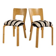 Alvar Aalto Model 66 Chairs in Zebra Hide, Pair