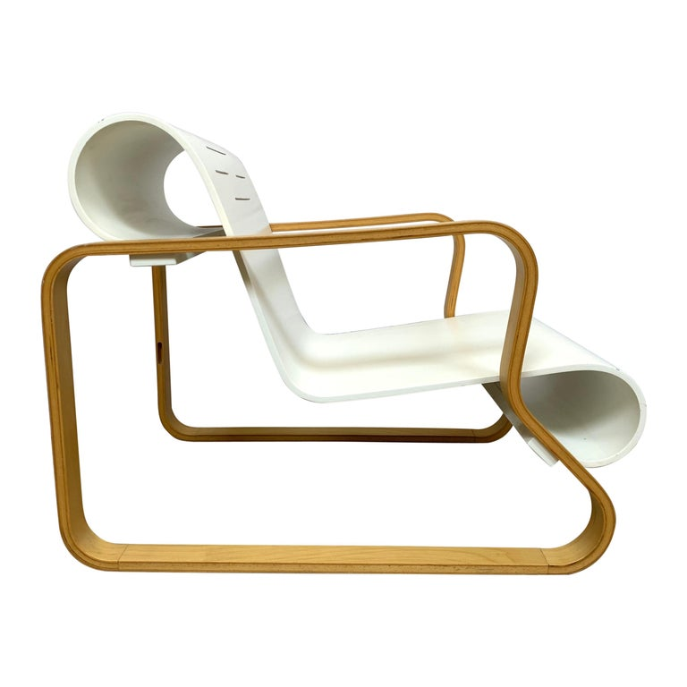 "Alvar Aalto ""Paimio"" Birch and White Armchair 41 for Artek, Finland, 1970s For Sale"