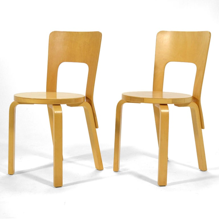 Scandinavian Modern Alvar Aalto Pair of Model 66 Chairs For Sale