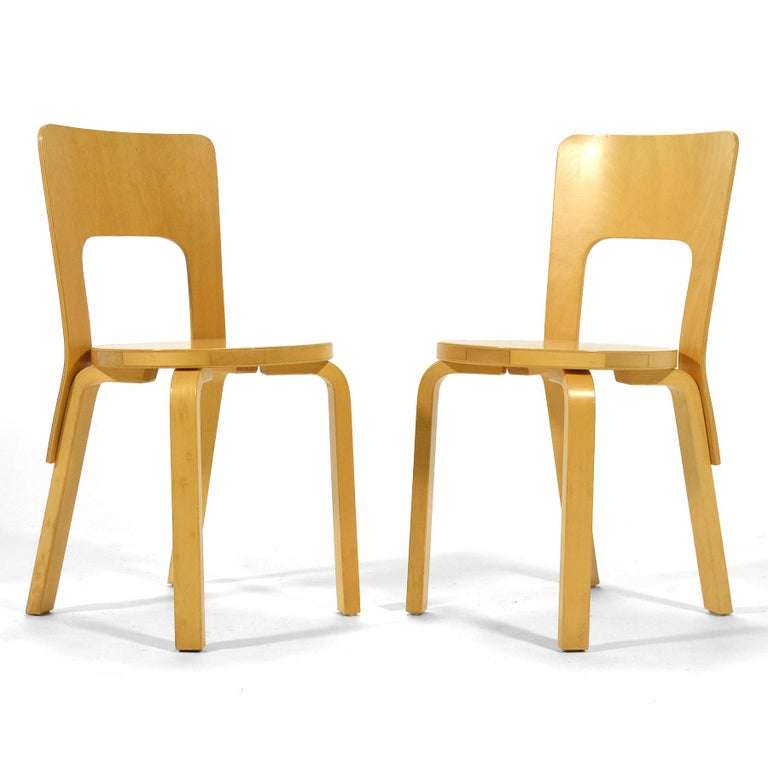 Finnish Alvar Aalto Pair of Model 66 Chairs For Sale