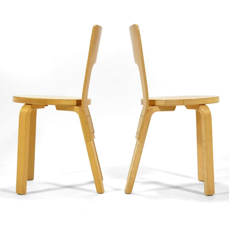 Alvar Aalto Pair of Model 66 Chairs In Good Condition For Sale In Highland, IN