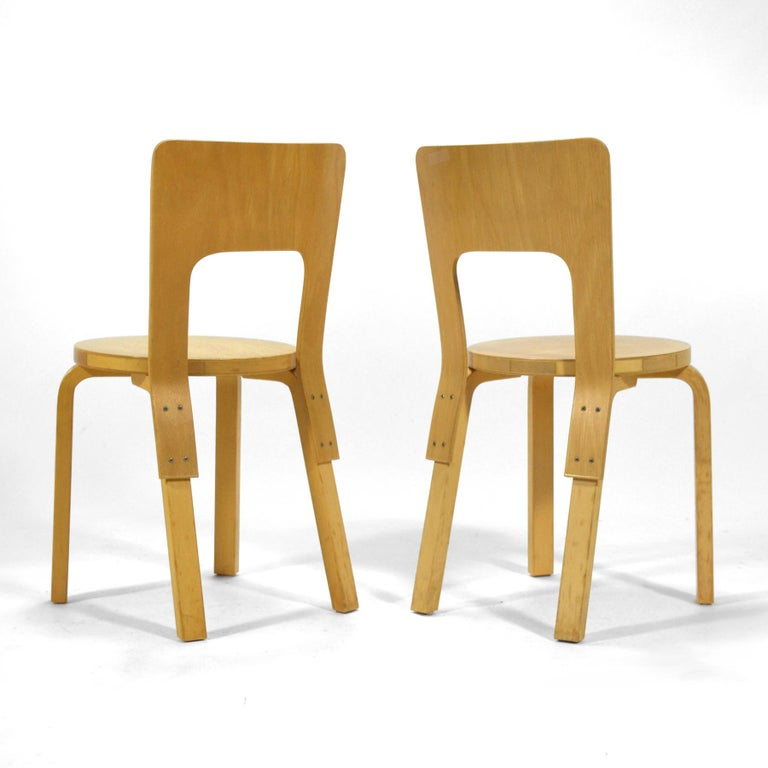 Mid-20th Century Alvar Aalto Pair of Model 66 Chairs For Sale