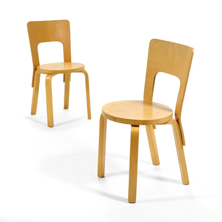 Alvar Aalto Pair of Model 66 Chairs For Sale 2