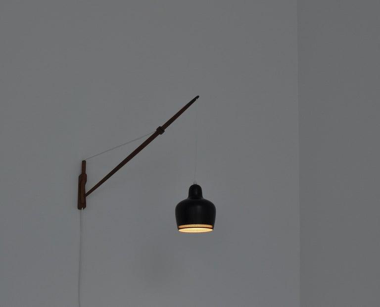 Patinated Alvar Aalto Pendant Wall Lamp, Louis Poulsen, 1960s Scandinavian Modern For Sale