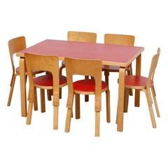 Alvar Aalto Red Topped Dining Table with 6 Chairs for Artek