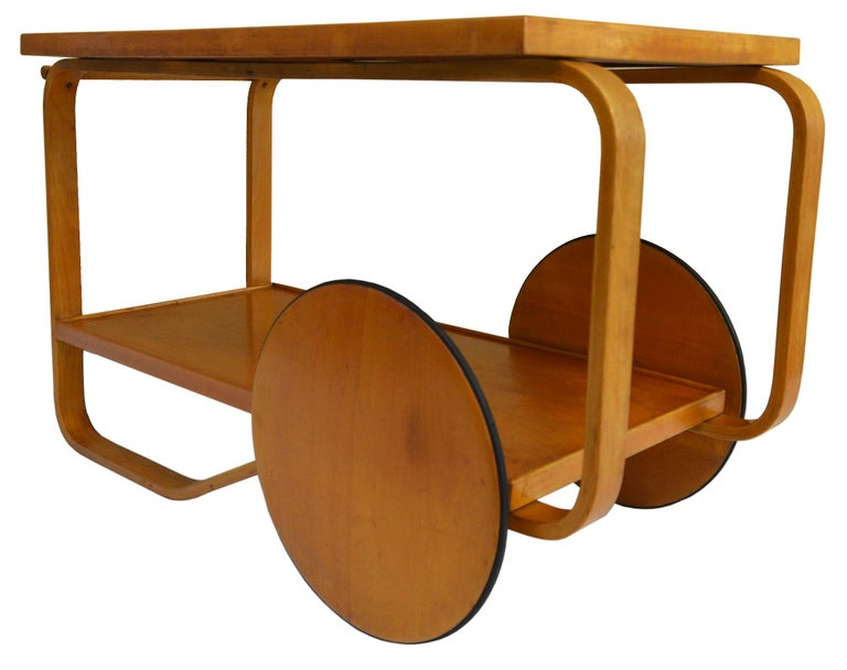 An exception untouched and very early Rolling Cart designed by Alvar Aalto. 