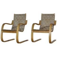 Alvar Aalto Scandinavian Modern Lounge Chairs Model 406 in Birch by Artek, 1960s