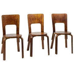Alvar Aalto, Set of 3 Model 66 Chairs, 1933, Original Early Production