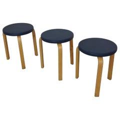 Alvar Aalto Set of Three Early Upholstered Stools Model 60