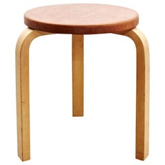 Alvar Aalto Stool in Leather for Artek, circa 1960