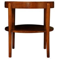 Alvar Aalto Style 1930s Art Deco Walnut Circular Cocktail Table with Shelf