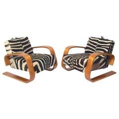 Alvar Aalto Tank Lounge Chairs in Zebra Hide