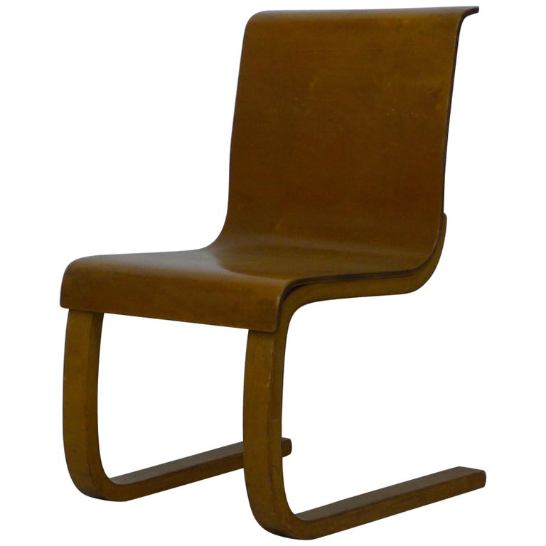 Alvar Aalto Type 21 Chair Molded Plywood, Finmar Label, 1930s For Sale
