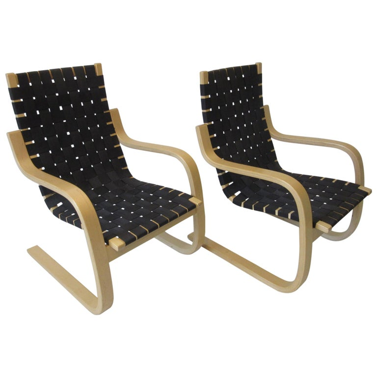 Alvar Alto 406 Woven Lounge Chairs For Sale