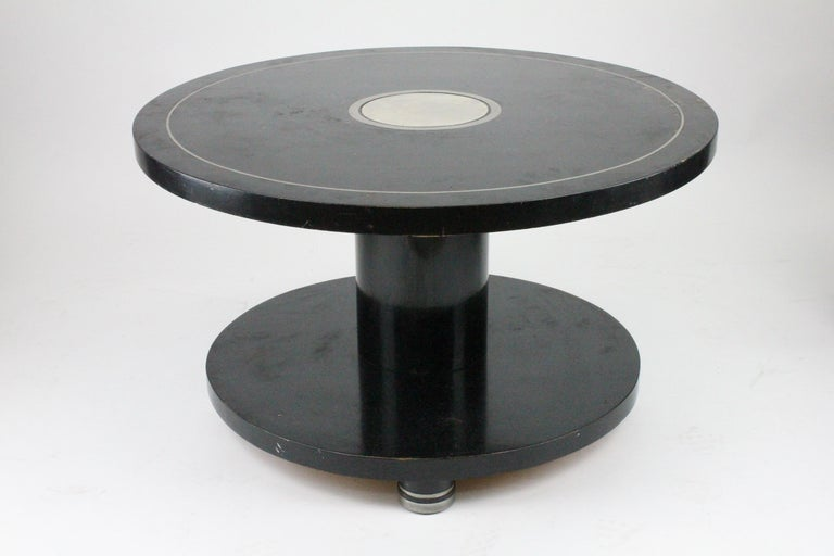 Alvar Andersson Table, 1933, Swedish, Black Painted with Pewter Inlays For Sale 7