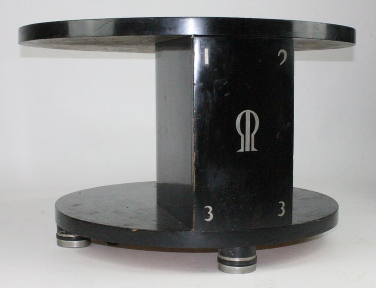 Art Deco Alvar Andersson Table, 1933, Swedish, Black Painted with Pewter Inlays For Sale
