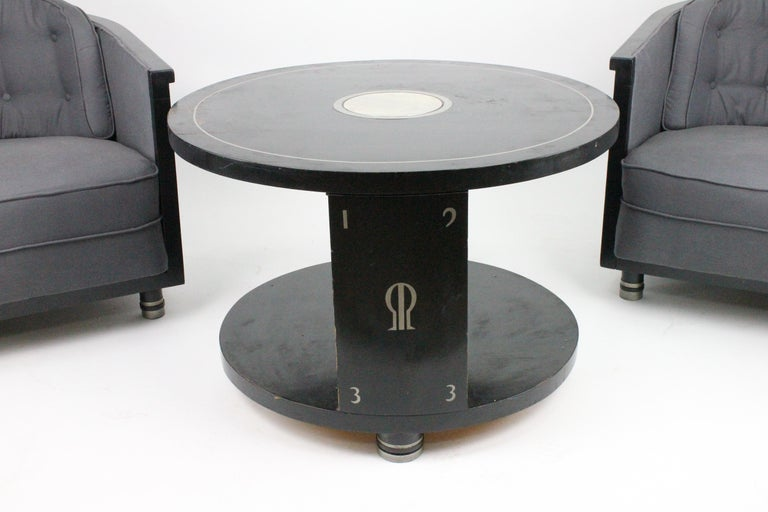 Alvar Andersson Table, 1933, Swedish, Black Painted with Pewter Inlays In Good Condition For Sale In Skanninge, SE