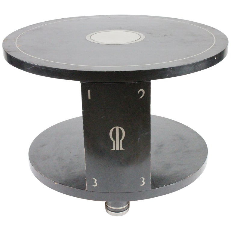 Alvar Andersson Table, 1933, Swedish, Black Painted with Pewter Inlays For Sale