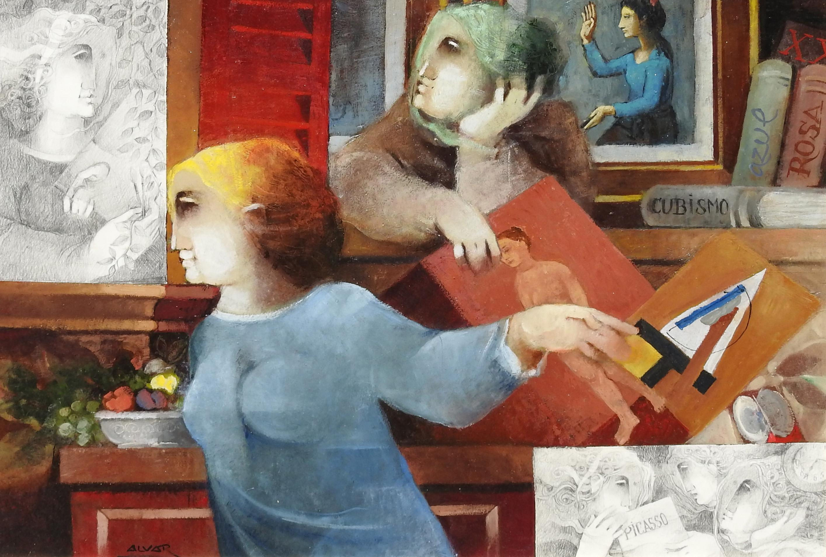 """Blau, Rosa, Cubista"", Alvar Sunol, Oil on Board, 20x28, Romanesque Modernist"