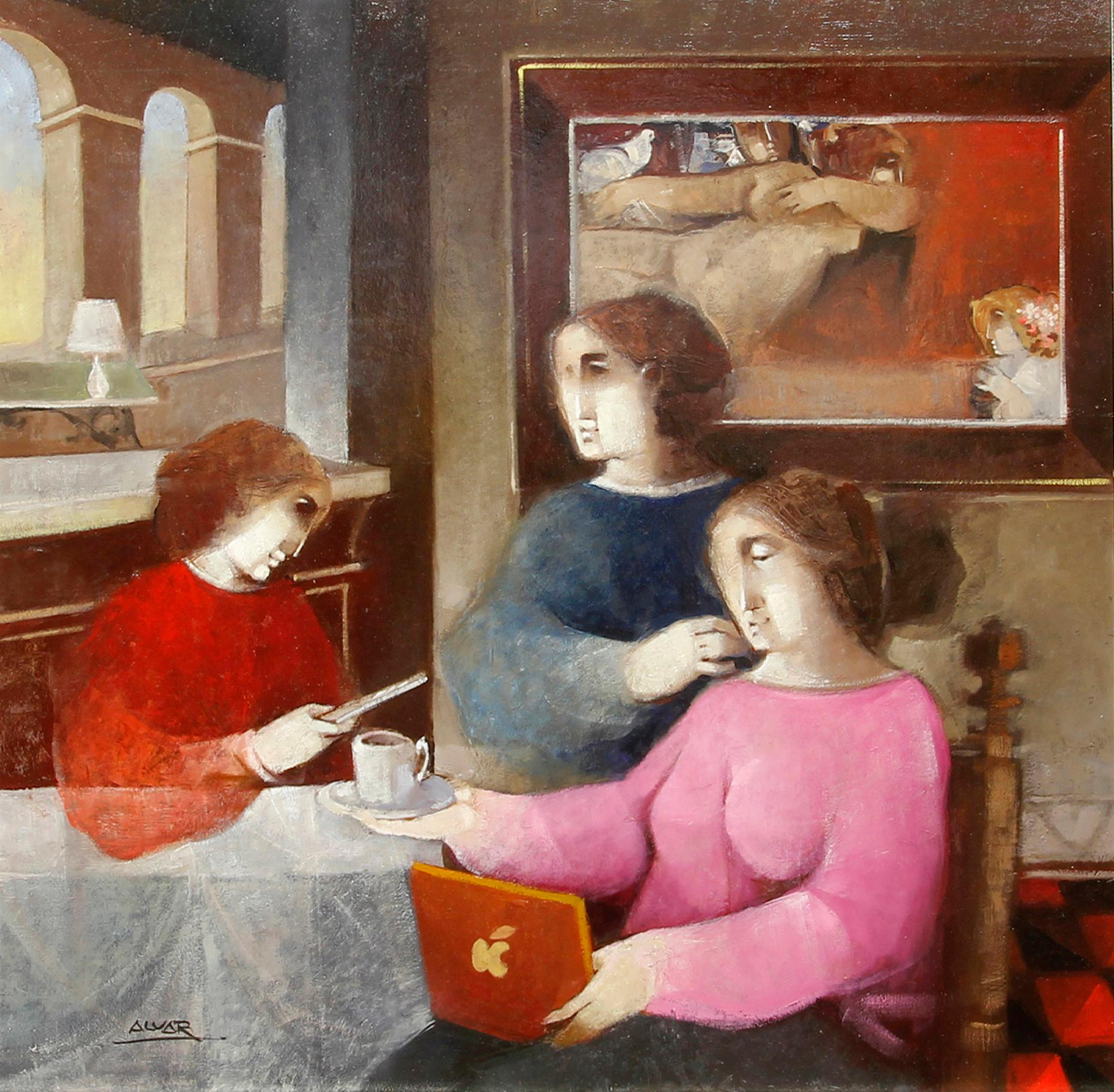 """Cafe Mobile"", Alvar Sunol, Oil on Board, 29x29, Romanesque Modernist, Red"